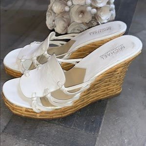 MICHAEL KORS wedges basket weave white size 7